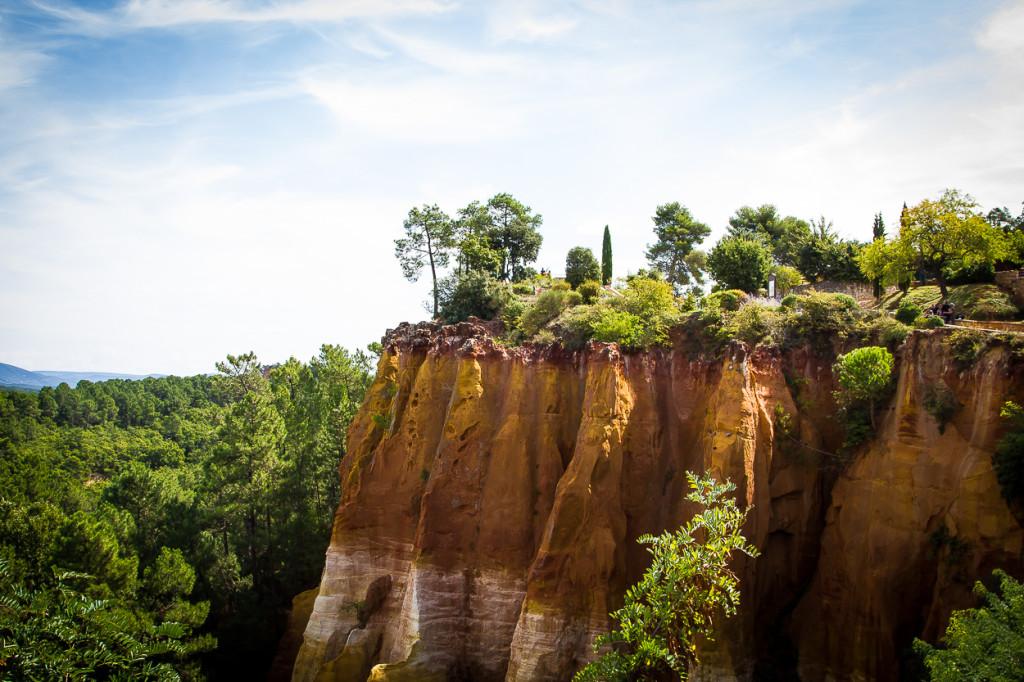 Close-up of an ocher cliff