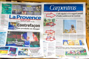 My five minutes of fame in 'La Provence', 20th August 2016